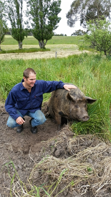 "Trev with his beloved pregnant sow ""Fleck""!"